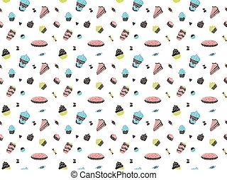 Seamless pattern of multi-colored cakes, pies, sweets, pieces of cake, cocktails and desserts in the Scandinavian style on a white background. Vector.