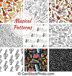Seamless pattern of musical instruments - Musical...