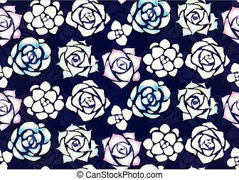 Seamless pattern of neon succulents with patches of light on a dark background. View from above