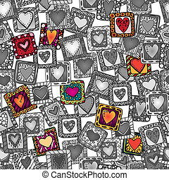 Seamless pattern of original doodle hearts.