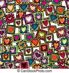 Seamless pattern of original drawing doodle hearts.