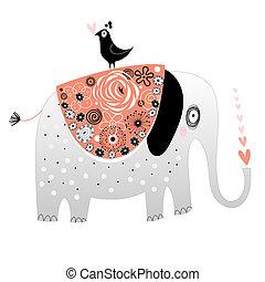 seamless pattern of ornamental elephants on a black...