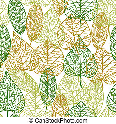 Seamless pattern of outline autumnal leaves