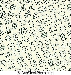 Seamless pattern of outline icons. SEO