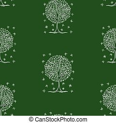 Seamless pattern of outlines flowering tree with flying butterflies