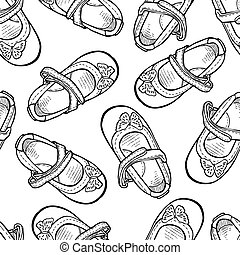 Seamless pattern of outlines shoes for little girls
