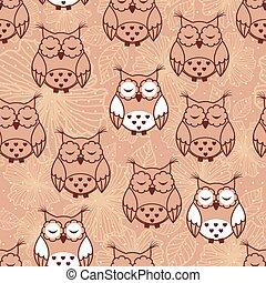 Seamless pattern of owls