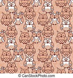 Seamless pattern of owls