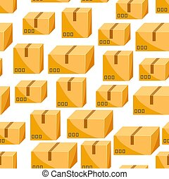 Seamless pattern of packing boxes. Delivery packages...