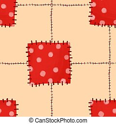 Seamless pattern of patches 1. Carelessly sewn up scraps