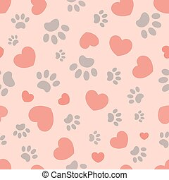 Seamless pattern of paws and hearts - Seamless pattern with ...