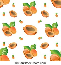 Seamless pattern of peaches with leaves. Vector illustration isolated on white background.