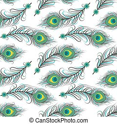 Seamless pattern of peacock feathers - Vector illustration...