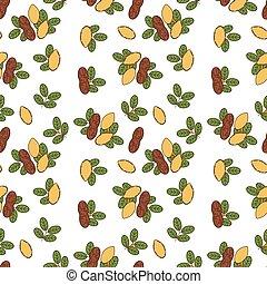 Seamless pattern of peanut in cartoon style