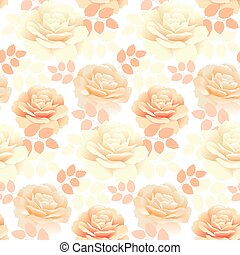 seamless pattern of pearl color yellow rose. repitable...