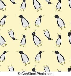 Seamless pattern of pinguins. Cartoon vector illustration