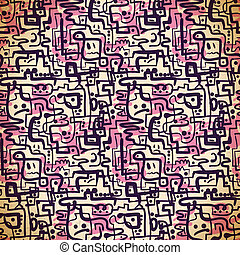 Seamless pattern of pink and purple lines and emotions