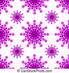 Seamless pattern of pink-burgundy snowflakes on a white background