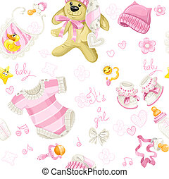 Seamless pattern of pink clothing, bunny toy and stuff it's a girl