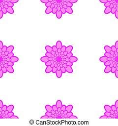 Seamless pattern of pink flowers on a white background