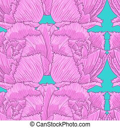 Seamless pattern of pink flowers