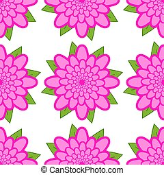 Seamless pattern of pink flowers with green leaves on a white background