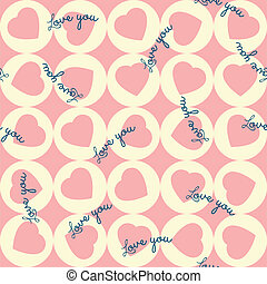 pattern of pink hearts in the yello