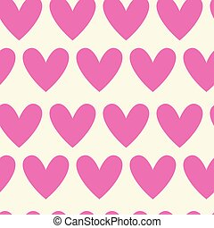 Seamless Pattern Of Pink Hearts On White, Valentines Day Background