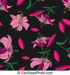 Seamless pattern of pink lilies