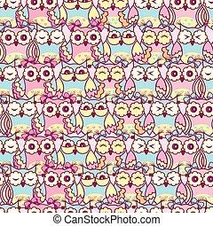 Seamless pattern of pink owls