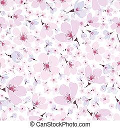Seamless pattern of pink spring Sakura blossom - Seamless...