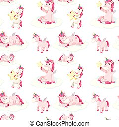 Seamless pattern of pink unicorns