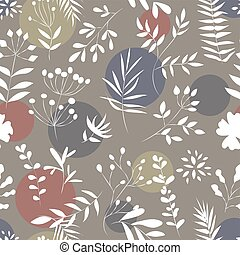 seamless pattern of plants on a colored background