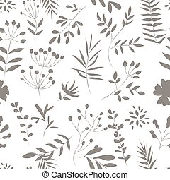 seamless pattern of plants on a white background