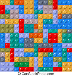 Seamless pattern of plastic building blocks. Vector...