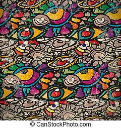 Seamless pattern of psychedelic eyes in vintage style