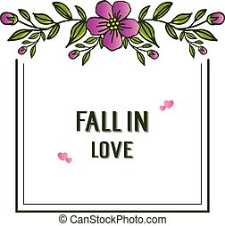 Seamless pattern of purple floral frame, for decoration template of card fall in love. Vector