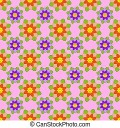 Seamless pattern of red and purple flowers with green leaves on a pink background