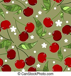 Seamless Pattern of red cherry with leaves, Fruit berry pattern, Sweet cherry on green background.