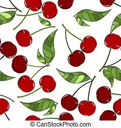 Seamless Pattern of red cherry with leaves on white background.