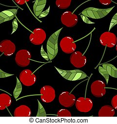 Seamless Pattern of red cherry with leaves.
