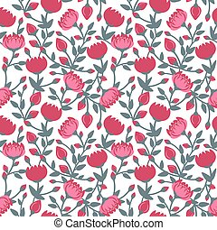 Seamless pattern of red flowers on a white background. Vector illustration.