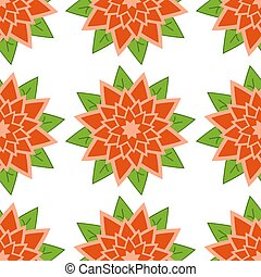 Seamless pattern of red-orange flowers with green leaves on a white background