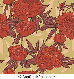 Seamless pattern of red peonies on a green background. Vector graphics