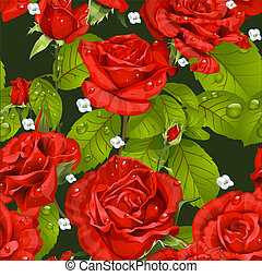 Seamless pattern of red roses on a dark green background