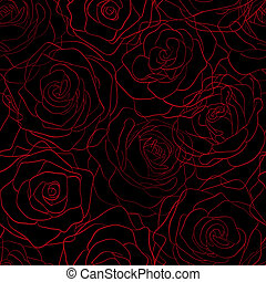 seamless pattern of red roses on the contours of a black...