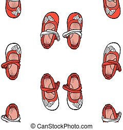 Seamless pattern of red shoes for little girls