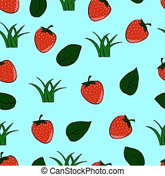 seamless pattern of red strawberries with green leaves and bushes of grass