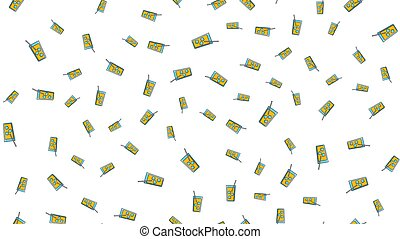Seamless pattern of repeating alcoholic cocktails in a glass with ice and a straw on a white background. Vector illustration