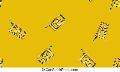 Seamless pattern of repeating alcoholic cocktails in a glass with ice and a straw on a yellow background. Vector illustration